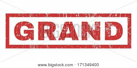 Grand text rubber seal stamp watermark. Caption inside rectangular shape with grunge design and dirty texture. Horizontal vector red ink emblem on a white background.