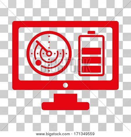 Radar Battery Control Monitor icon. Vector illustration style is flat iconic symbol red color transparent background. Designed for web and software interfaces.