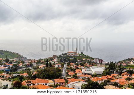 Panoramic beautiful views of Igreja de Sao Martinho Funchal from the pico dos barcelos, Madeira island, Portugal.