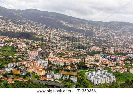 Panoramic beautiful views of Funchal from the pico dos barcelos, Madeira island, Portugal.