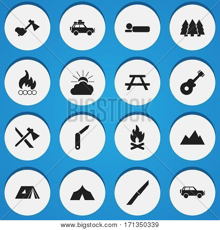 Set Of 16 Editable Trip Icons. Includes Symbols Such As Ax, Musical Instrument, Voyage Car And More. Can Be Used For Web, Mobile, UI And Infographic Design.