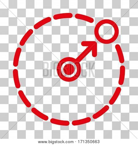 Round Area Border icon. Vector illustration style is flat iconic symbol red color transparent background. Designed for web and software interfaces.