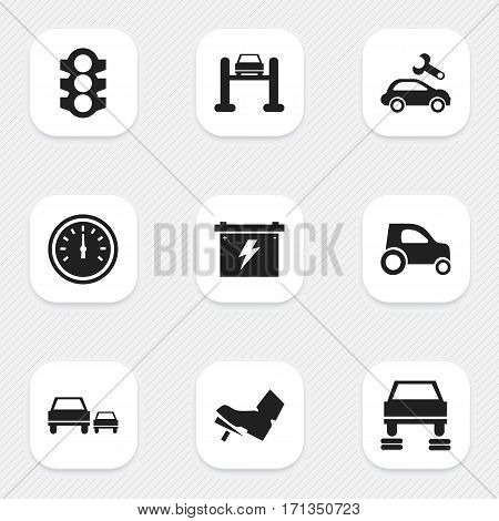 Set Of 9 Editable Traffic Icons. Includes Symbols Such As Stoplight, Treadle, Race And More. Can Be Used For Web, Mobile, UI And Infographic Design.