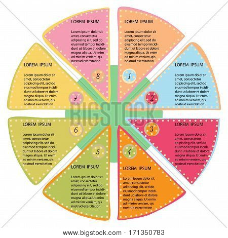 Vector infographic circle template with 8 steps. Flat design. Cycling diagram