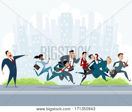 Vector illustration of a many businessmen hurry