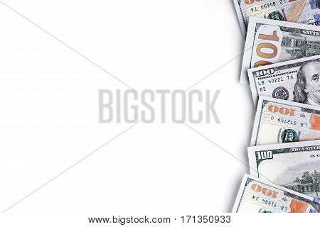 Banknotes in one hundred dollars, financial prosperity, dollars on white background, space for design, money close-up