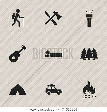 Set Of 9 Editable Trip Icons. Includes Symbols Such As Lantern, Tepee, Voyage Car And More. Can Be Used For Web, Mobile, UI And Infographic Design.