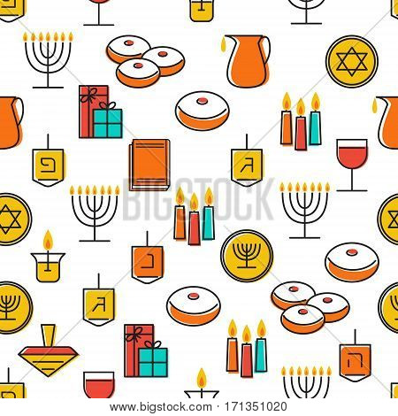 Hanukkah seamless pattern. Jewish Holiday Hanukkah symbol. Menorah candlestick candles donuts sufganiyan gifts dreidel coins oil. Happy Hannukah in Hebrew. Vector illustration