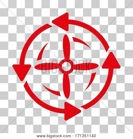 Screw Rotation icon. Vector illustration style is flat iconic symbol red color transparent background. Designed for web and software interfaces.