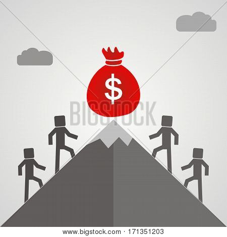 business people climb the mountain to the bag with money