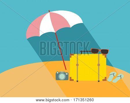 umbrella on the beach. flat vector illustration