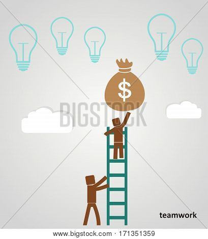 Teamwork - businessman profits. flat vector illustration
