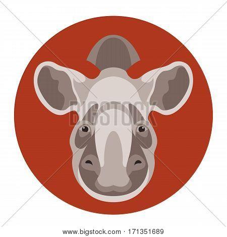 tapir head  face vector illustration style Flat