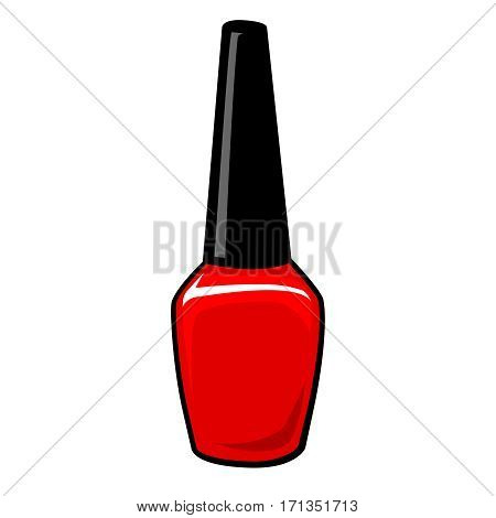 Nail polish bottle isolated on white. Red color. Glass shiny closed container. Single element for manicure, make up. Vector cartoon  illustration, icon, sticker, patch badge