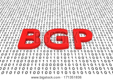 bgp in the form of binary code, 3D illustration