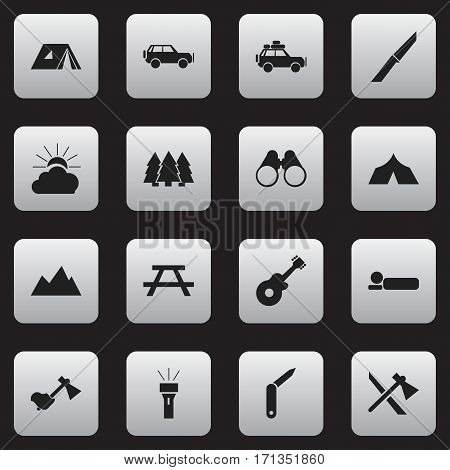 Set Of 16 Editable Travel Icons. Includes Symbols Such As Bedroll, Ax, Musical Instrument And More. Can Be Used For Web, Mobile, UI And Infographic Design.