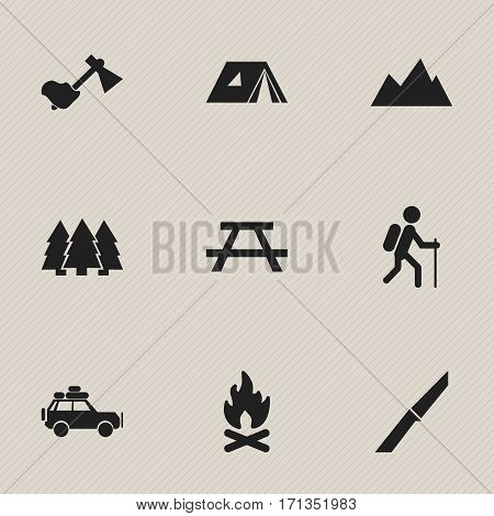 Set Of 9 Editable Trip Icons. Includes Symbols Such As Peak, Desk, Ax And More. Can Be Used For Web, Mobile, UI And Infographic Design.