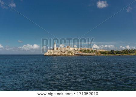 La Havana Cuba: Fortaleza de El Morro. Touristic building in cuba.