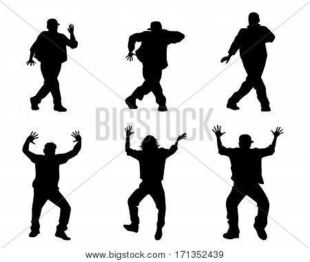 Vector illustration of a six dancing teenagers