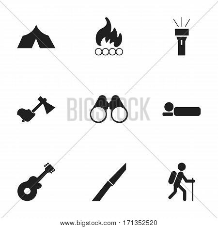 Set Of 9 Editable Travel Icons. Includes Symbols Such As Knife, Blaze, Bedroll And More. Can Be Used For Web, Mobile, UI And Infographic Design.