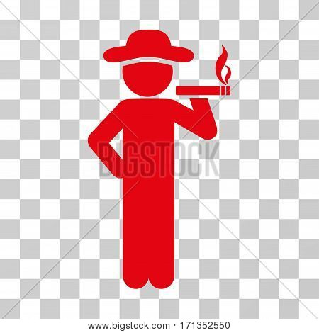 Smoking Gentleman icon. Vector illustration style is flat iconic symbol red color transparent background. Designed for web and software interfaces.