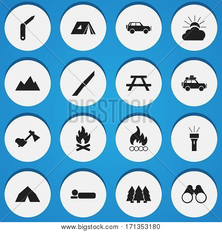 Set Of 16 Editable Travel Icons. Includes Symbols Such As Field Glasses, Sport Vehicle, Lantern And More. Can Be Used For Web, Mobile, UI And Infographic Design.