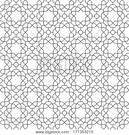 Seamless geometric pattern for your designs and backgrpounds. Modern ornament with repeating elements. Black and white pattern