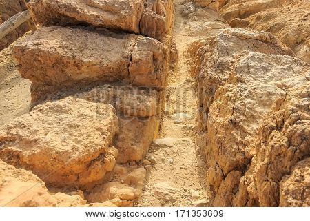 Rock passage in mountain oasis Chebika at border of Sahara, Tunisia, Africa