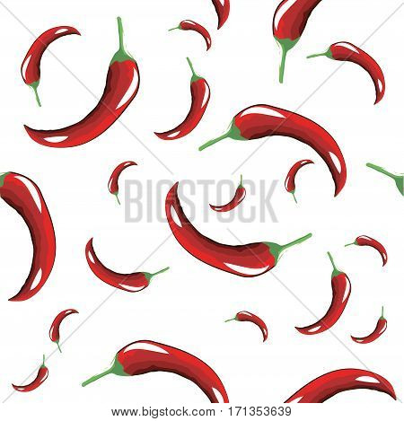 Seamless pattern of hot red pepper on white background
