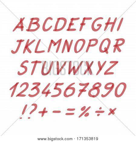 Marker Hand Written Doodle Symbols Vector. Letters, Numbers, Symbols