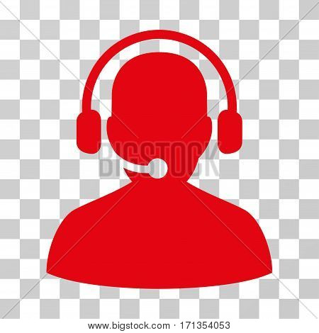Telemarketing icon. Vector illustration style is flat iconic symbol red color transparent background. Designed for web and software interfaces.