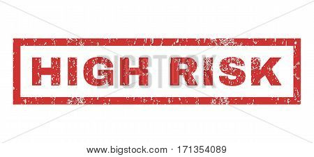 High Risk text rubber seal stamp watermark. Caption inside rectangular banner with grunge design and dust texture. Horizontal vector red ink sticker on a white background.