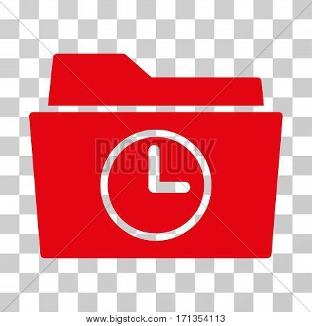 Temporary Folder icon. Vector illustration style is flat iconic symbol red color transparent background. Designed for web and software interfaces.
