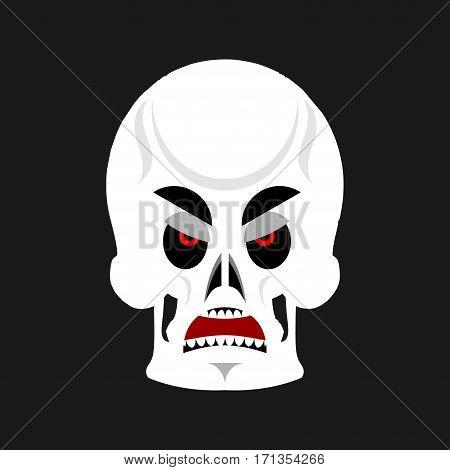 Skull Angry Emoji. Skeleton Head Grumpy Emotion Isolated