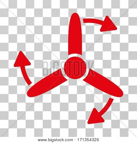 Three Bladed Screw Rotation icon. Vector illustration style is flat iconic symbol red color transparent background. Designed for web and software interfaces.
