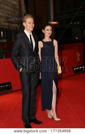 Patrycja Volny and actor Jakub Gierszal attend the 'Spoor' (Pokot) premiere during the 67th Berlinale International Film Festival Berlin at Berlinale Palace on February 12, 2017 in Berlin, Germany.