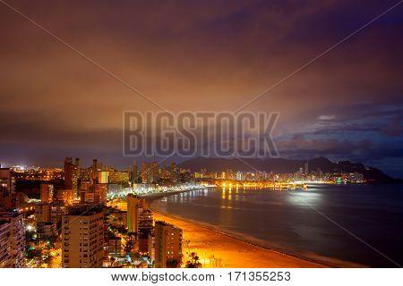 View of Benidorm at night