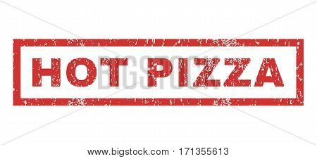 Hot Pizza text rubber seal stamp watermark. Caption inside rectangular banner with grunge design and scratched texture. Horizontal vector red ink emblem on a white background.