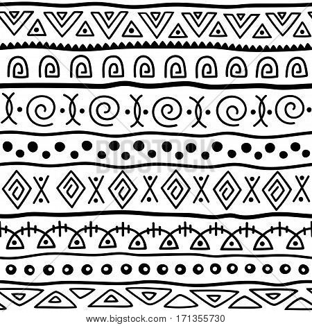 Seamless pattern in ethnic style. Ornamental element African theme. Set of seamless vintage decorative tribal border. Traditional African pattern background with tribal elements form.