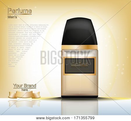 Men Perfume bottle Cosmetic ads template, droplet bottle mock up isolated on gold background. Place for brand texts. Glamorous fragrance sparkling effects. Vector illustration