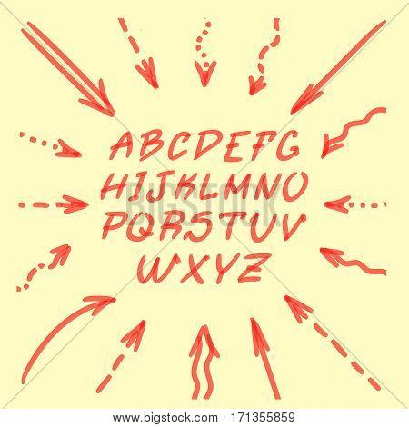 Marker Hand Written Doodle Arrows, Letters Vector illustration