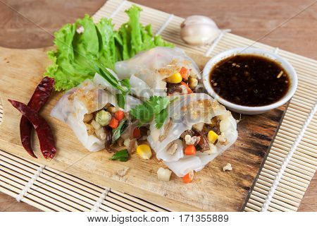 Noodle tube is appetizer menu Asia. made from noodle stuffed with pork and vegetables cooking by steamed.