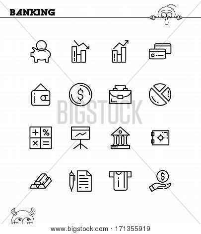 Banking flat icon set. Collection of high quality outline symbols for web design, mobile app. Banking vector thin line icons or logos.