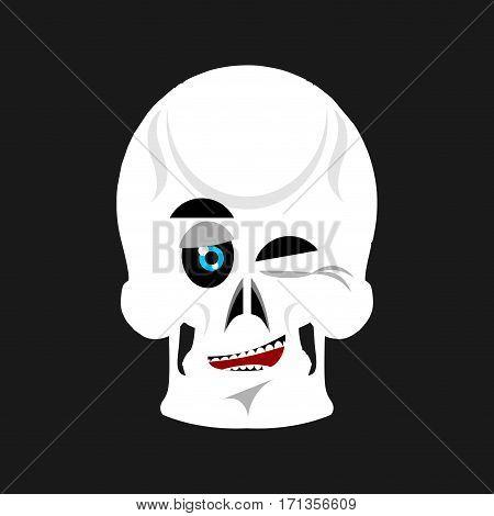 Skull Winks Emoji. Skeleton Head Happy Emotion Isolated