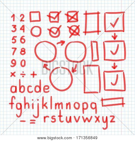 Marker Hand Written Doodle Symbols Vector. Letters, Numbers
