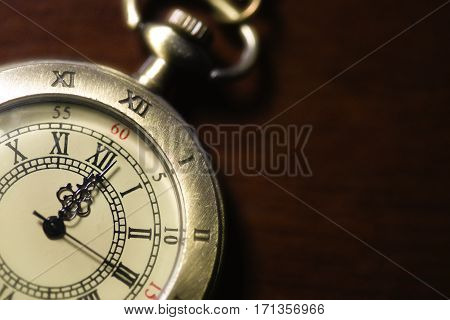 Vintage pocket watch and space for text