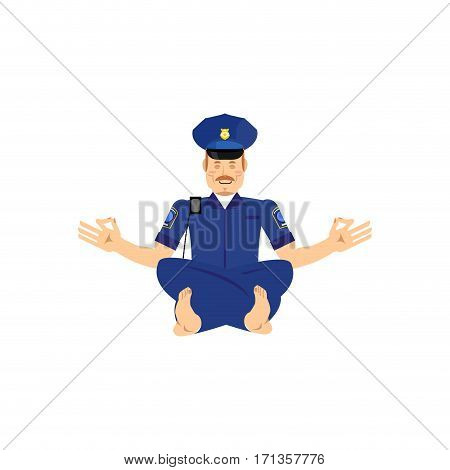 Yoga Cop. Police Officer Yogi. Policeman Zen And Relax