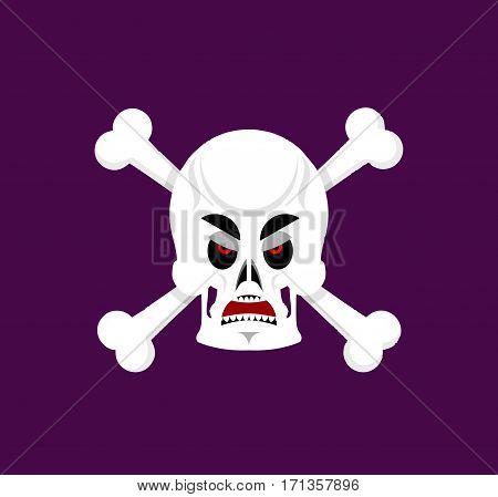 Skull And Crossbones Angry Emoji. Skeleton Head Grumpy Emotion Isolated