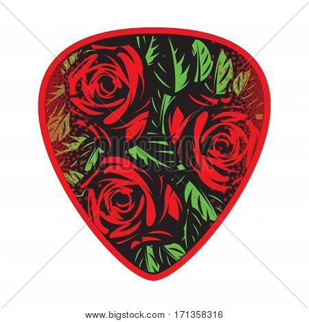 color vector template for design plectrum with roses and leaves