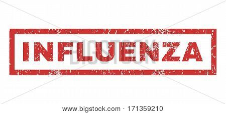 Influenza text rubber seal stamp watermark. Tag inside rectangular shape with grunge design and dirty texture. Horizontal vector red ink sign on a white background.